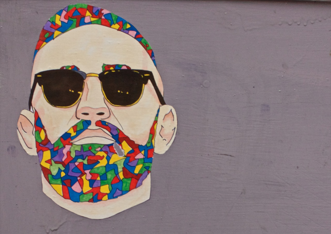Graffiti of a man with a colourful beard
