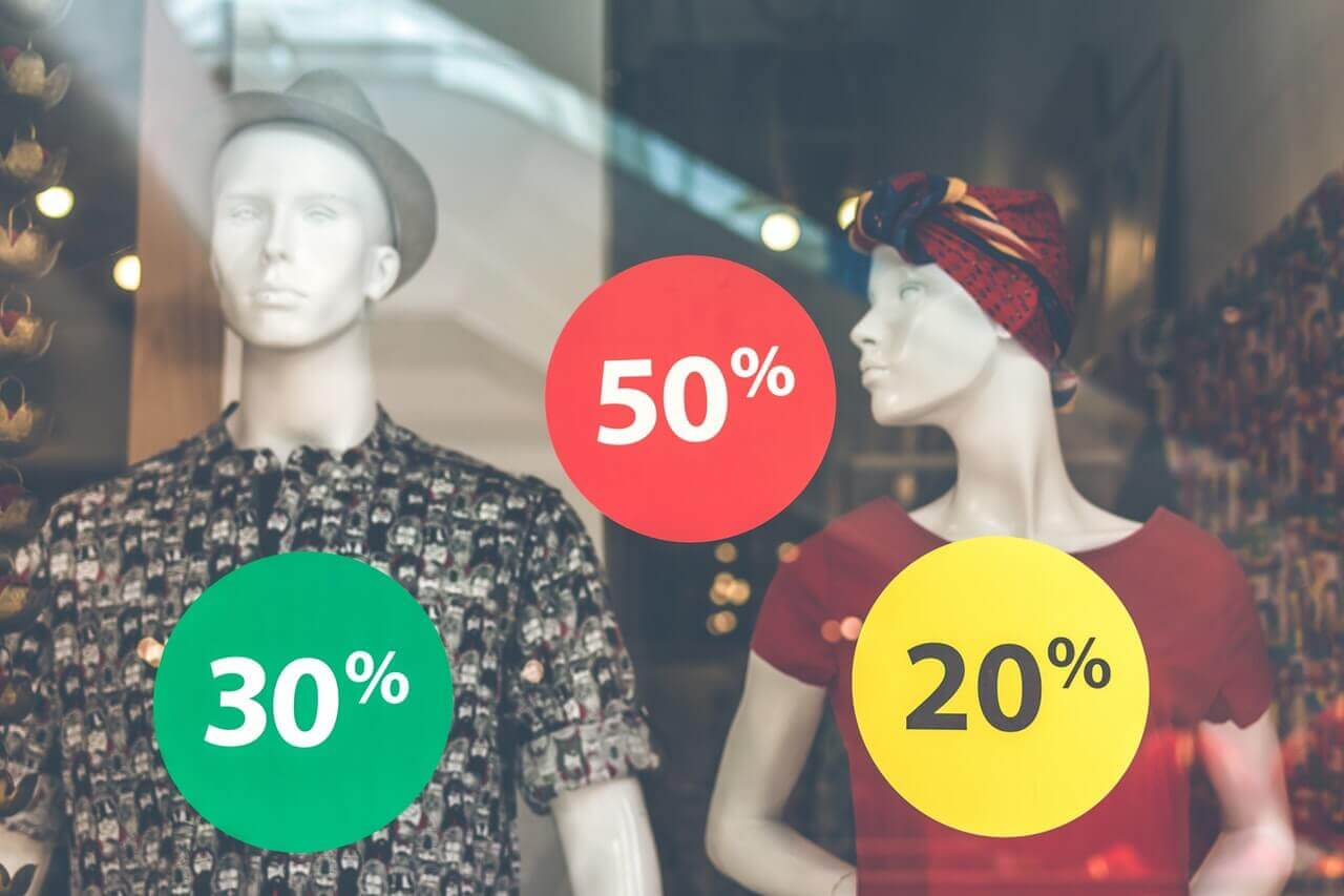 Clothing sale in window